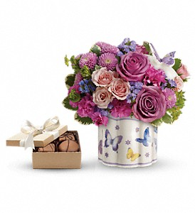 Teleflora's Field Of Butterflies with chocolates in Belford NJ, Flower Power Florist & Gifts