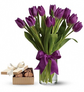 Passionate Purple Tulipswith chocolates in Gaithersburg MD, Flowers World Wide Floral Designs Magellans