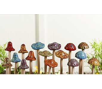Ceramic Mushroom Design Garden Pick in Guelph ON, Patti's Flower Boutique