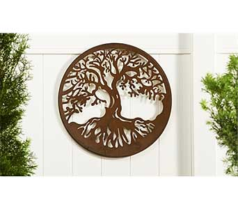 Round Iron Cut-Out Tree Design Wall Plaque in Guelph ON, Patti's Flower Boutique