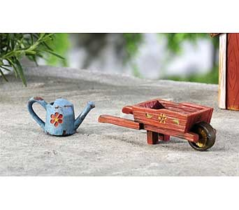 Mini World Garden Country Watering Can & Wheelbarr in Guelph ON, Patti's Flower Boutique
