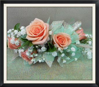 Peach Roses Corsage in Tyler TX, The Flower Box