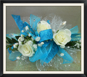 Electric Blue Corsage in Tyler TX, The Flower Box