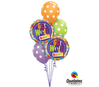 Polka Dot Get Well Balloon Bouquet in Chatham ON, Pizazz!  Florals & Balloons
