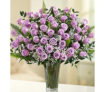 Long Stem Purple Roses 48 Stems in Palm Desert CA, Milan's Flowers & Gifts