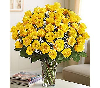 Long Stem Yellow Roses 48 Stems in Palm Desert CA, Milan's Flowers & Gifts