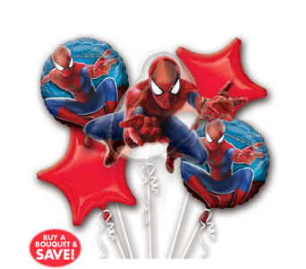 Spiderman 5 Pack Balloon Bouquet in Chatham ON, Pizazz!  Florals & Balloons