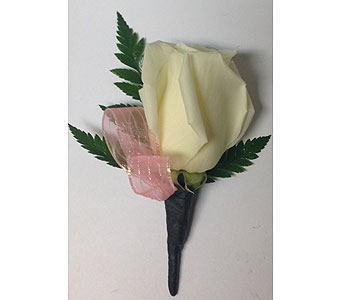 White Rose with Coral Boutonniere in Wyoming MI, Wyoming Stuyvesant Floral
