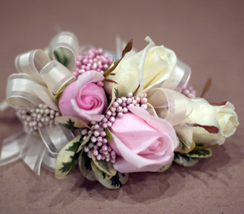Rose and Rice Flower Corsage in Aurora ON, Caruso & Company