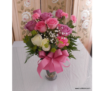 Silver & Roses Bouquet in Abington MA, The Hutcheon's Flower Co, Inc.