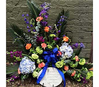 Premium funeral stone with fresh flowers in Ambridge PA, Heritage Floral Shoppe