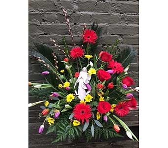 Premium funeral statue with fresh flowers in Ambridge PA, Heritage Floral Shoppe
