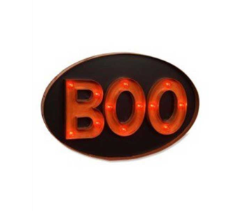Bethany Lowe BOO Lit Marquee hanging sign in Bellevue WA, CITY FLOWERS, INC.