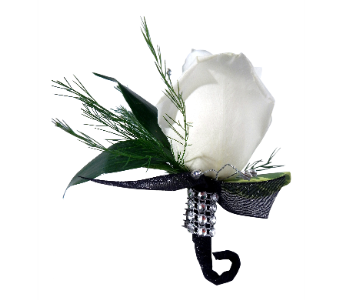 Black Dazzle Matching Boutonniere in Detroit and St. Clair Shores MI, Conner Park Florist