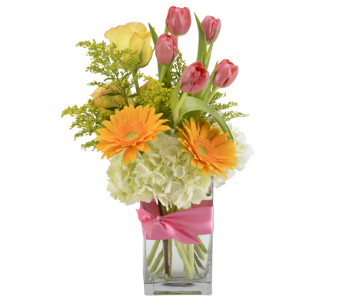 Spring Sunrise Vase Arrangement in Oklahoma City OK, Trochta's