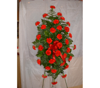 Traditional Red Standing Spray in Belleville ON, Barber's Flowers Ltd