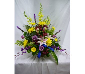 Stargazer Lily with Purple Accents Sidetable in Belleville ON, Barber's Flowers Ltd