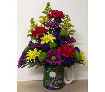 Golf Mug Arrangement - Designed One-Sided in Wyoming MI, Wyoming Stuyvesant Floral
