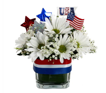 Red, White and Blue Patriotic Cube in Southfield MI, Thrifty Florist