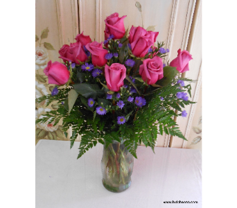 Hot pink roses arranged in Abington MA, The Hutcheon's Flower Co, Inc.