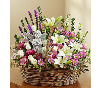 HEAVENLY ANGEL  LAVENDER & WHITE BASKET in Yelm WA, Yelm Floral