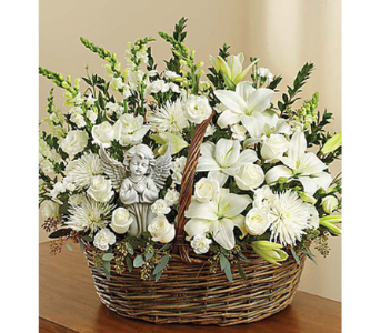 HEAVENLY ANGEL ALL WHITE BASKET in Yelm WA, Yelm Floral