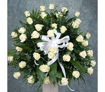 One Sided Arrangement of White Roses in Great Neck NY, United Floral