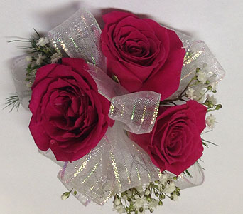 Hot Pink Spray rose child's wrist corsage in Wyoming MI, Wyoming Stuyvesant Floral