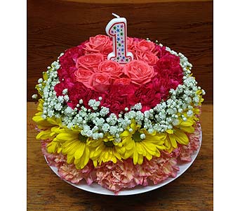 Blooming Birthday Cake in Hales Corners WI, Barb's Green House Florist