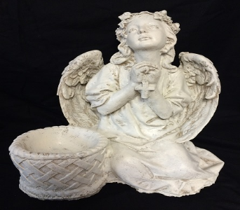 Sitting Angel with Rosary in Amelia OH, Amelia Florist Wine & Gift Shop