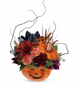 Teleflora's Halloween Magic Bouquet in Charleston WV, Food Among The Flowers