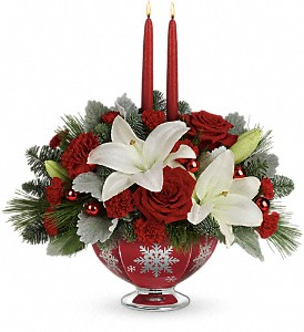 Teleflora's Merry Memories Centerpiece in Edmonton AB, Petals For Less Ltd.