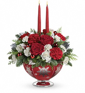 Teleflora's Silver And Joy Centerpiece in Liverpool NY, Creative Florist
