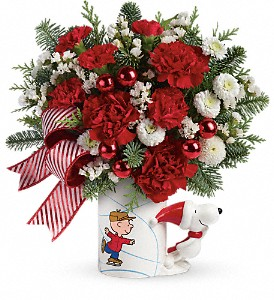 PEANUTS Christmas Mug by Teleflora in Maumee OH, Emery's Flowers & Co.