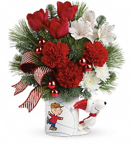 Skating With PEANUTS Mug by Teleflora in Cocoa FL, A Basket Of Love Florist
