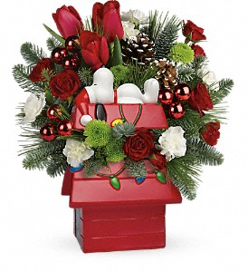 Snoopy's Merry Doghouse Jar by Teleflora in Cornwall ON, Fleuriste Roy Florist, Ltd.