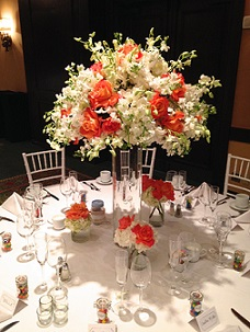 Coral and White Centerpiece in Stuart FL, Harbour Bay Florist