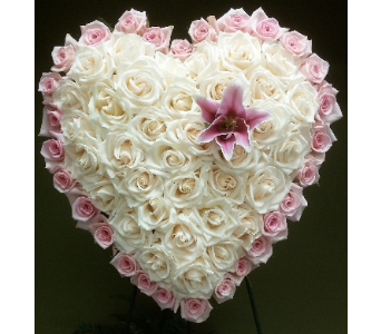 HEART ALL ROSES WITH STAR GAZER LILY in Woodbridge NJ, Floral Expressions
