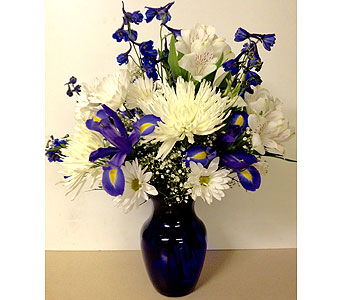 Cobalt Blue 8 inch Vase - Designed All-Around in Wyoming MI, Wyoming Stuyvesant Floral