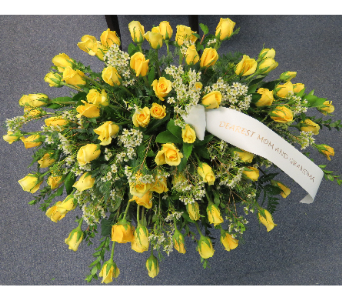 CASKET COVER ALL YELLOW ROSES in Woodbridge NJ, Floral Expressions