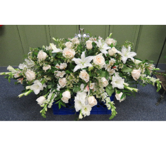 CASKET COVER WITH CRYSTAL CROSS in Woodbridge NJ, Floral Expressions