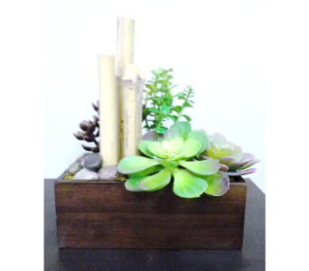 Bamboo & Faux Succulent Planter  in Tampa FL, Buds, Blooms & Beyond