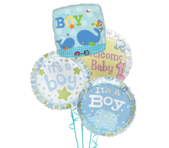 New Baby Boy Hospital Balloon Package in Eugene OR, Dandelions Flowers