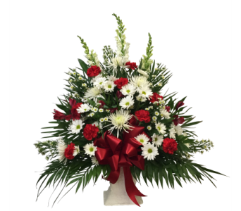 Designer's Choice Red and White Basket in Waterbury CT, The Orchid Florist
