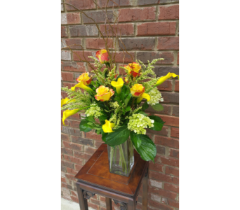 Yellow mini callas & roses    in Birmingham AL, Continental Florist