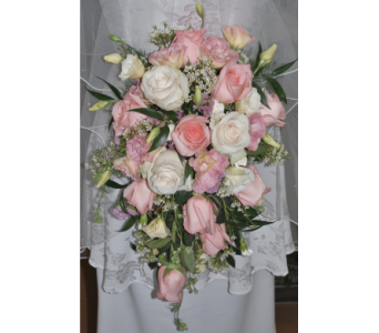 Cascading bridal bouquet in Scarborough ON, Helen Blakey Flowers