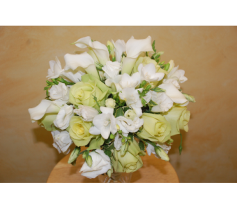 Cala lily and roses bridal bouquet in Scarborough ON, Helen Blakey Flowers