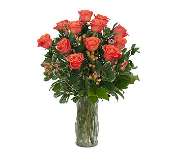 Orange Roses and Berries Vase in Mount Morris MI, June's Floral Company & Fruit Bouquets