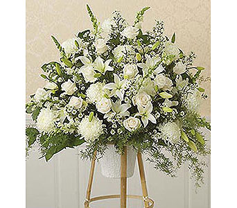 Hearts & Flowers!TM White Standing Basket