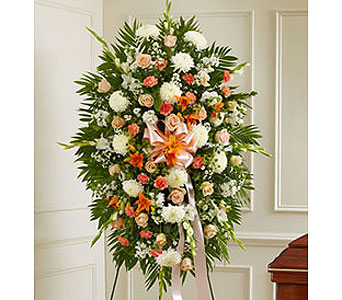 Deepest Sympathy Standing Spray Peach/Orange/White